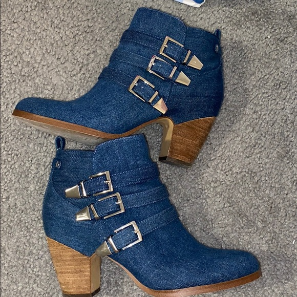 Crown Vintage Denim Boots (Size 8)